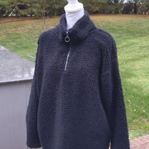 Teddy bear soft Sherpa fleece pullover zip up